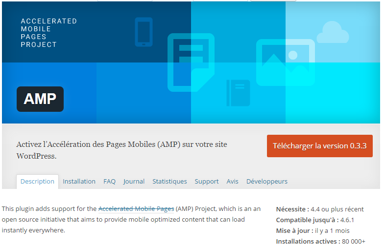 installer plugin amp site wordpress