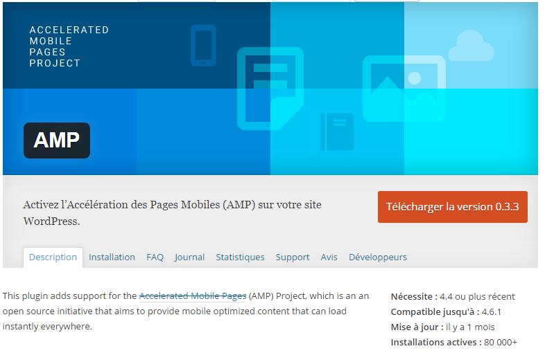 installer plugin amp site wordpress