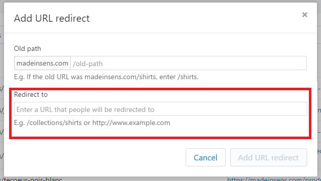 Redirection 301 dans Shopify : entrez la nouvelle url