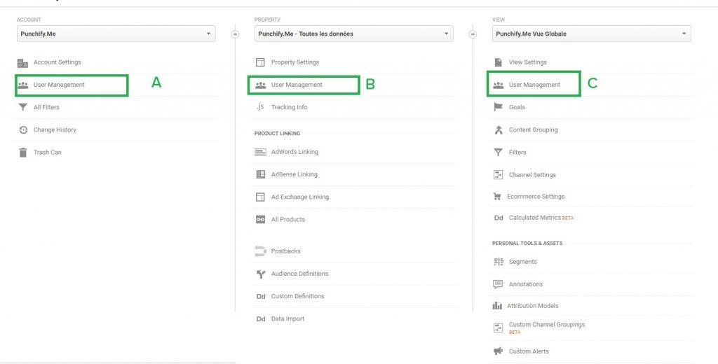 Ajouter un nouvel utilisateur sur Google Anlaytics : 2- choisir le niveau d'administration