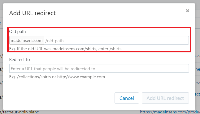 redirection 301 sur Shopify : cliquer sur URL redirects