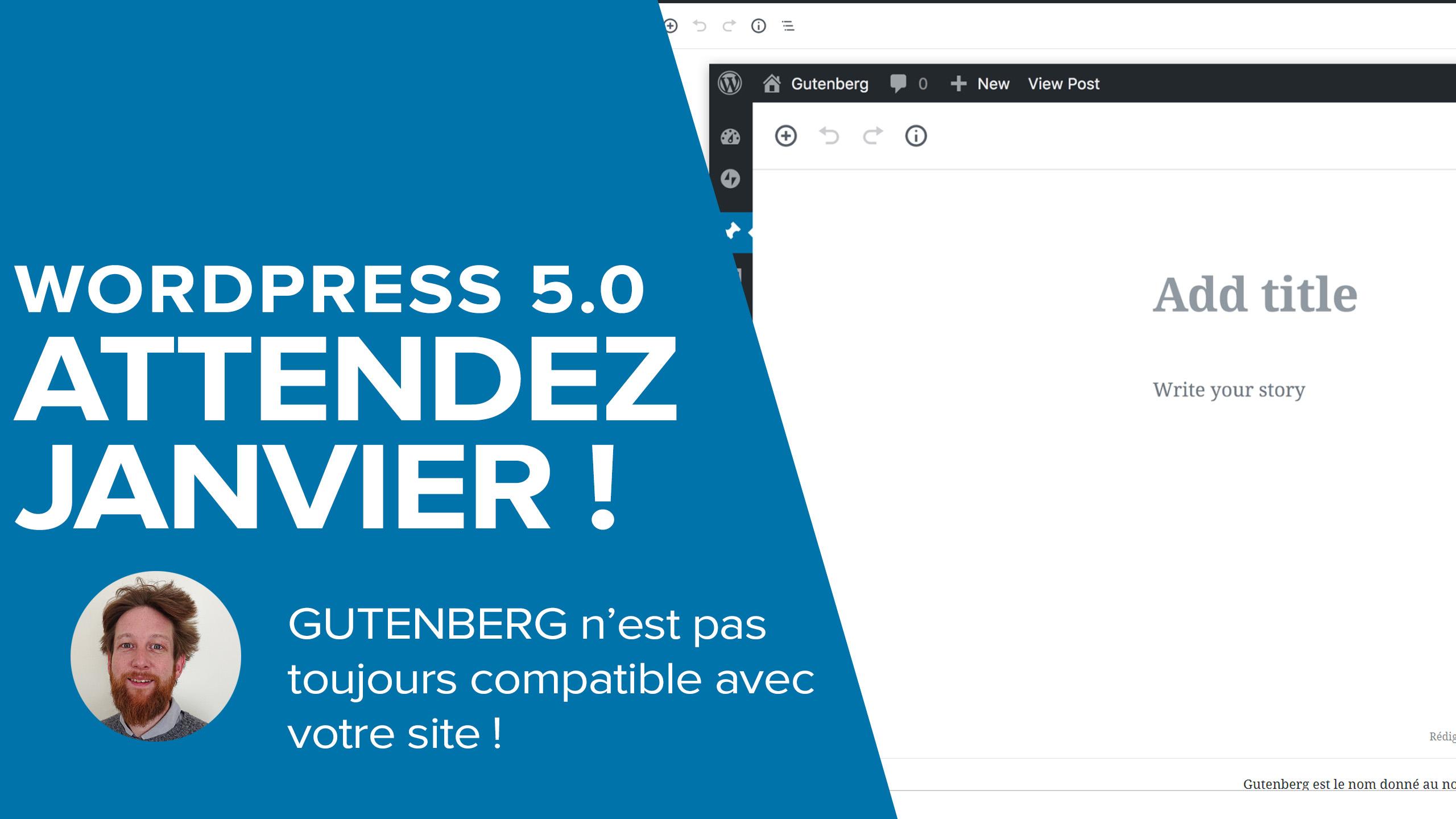 Attendez Janvier pour la mise à jour de Wordpress 5 Gutenberg