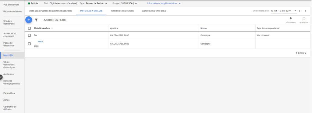 Tutoriel pour Optimiser ses Dynamic Search Ads. Etape 4. Travailler les mots-clés à exclure de ses DSA